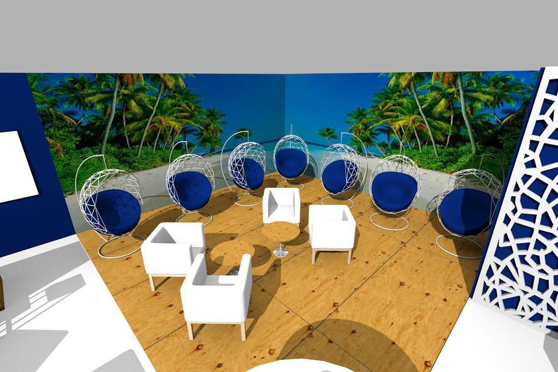 projekt graficzny stoiska - wizualizacja 3D