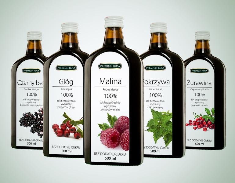 projekt graficzny opakowań soków i etykiet na butelki