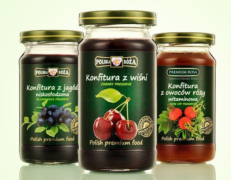 Projekty etykiet - konfitury Premium Rosa