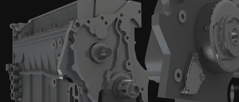 Animacja 3d - montaż elementów silnika spalinowego