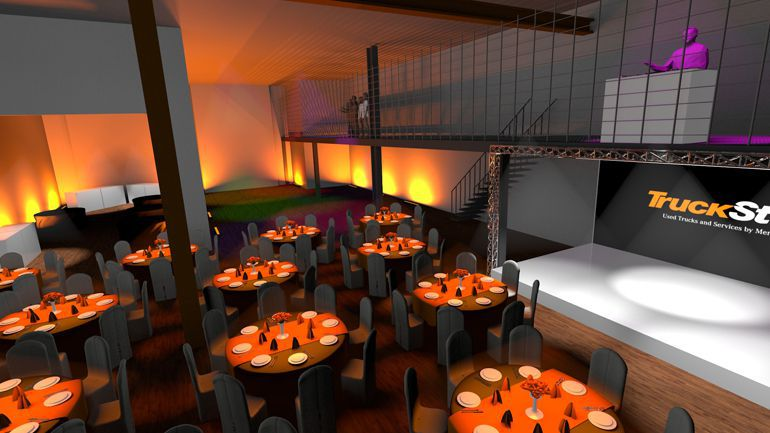 Projekt scenorgrafii imprezy – wizualizacja 3D