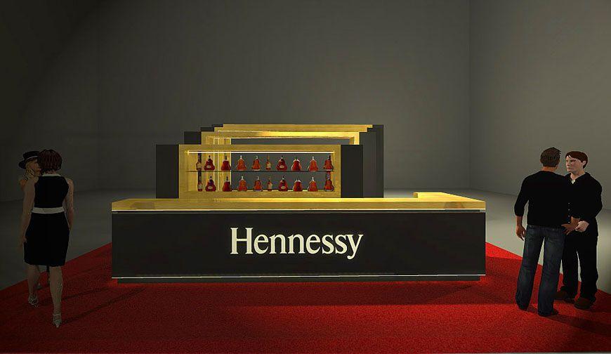 Stoisko targowe Hennesy - projekt i wizualizacja 3D