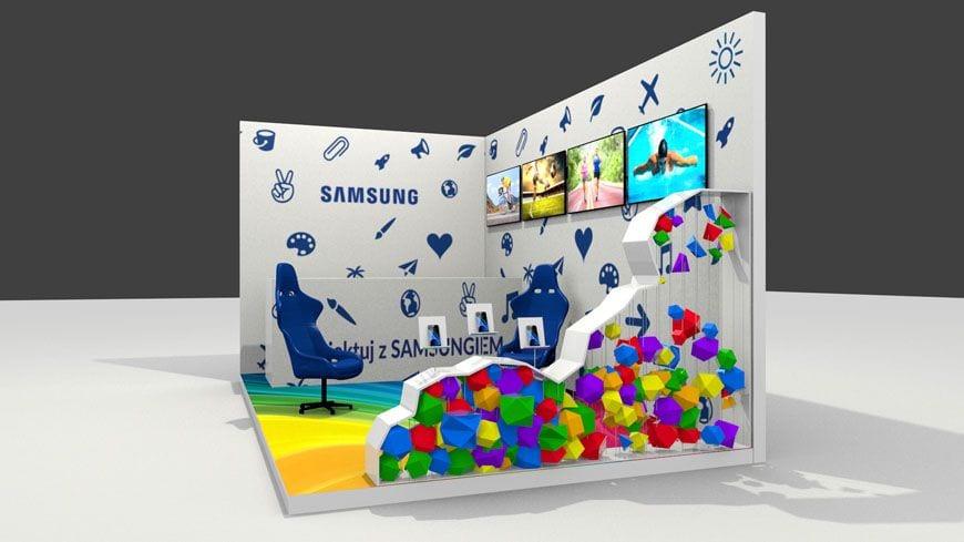 wizualizacja stoiska targowego dla dzieci