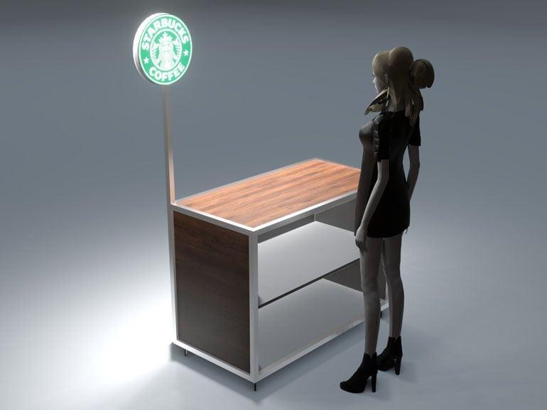 Lada wystawiennicza dla kawiarni - projekt i wizualizacja 3D