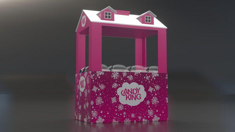 Stoisko promocyjne słodyczy - Wizualizacja 3D
