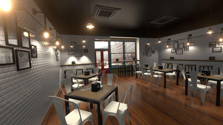 wizualizacja wnętrza restauracji