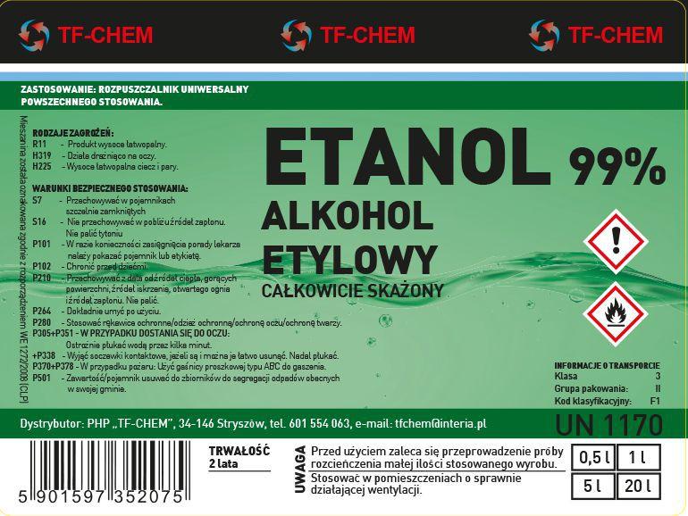 Projektowanie etykiet - etykieta alkohol etylowy