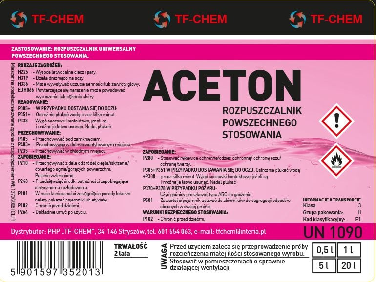 Projekt etykiety - aceton