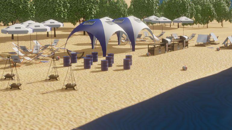Wizualizacja 3D - event na plaży