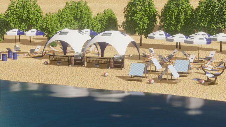 Event na plaży - wizualizacja 3D