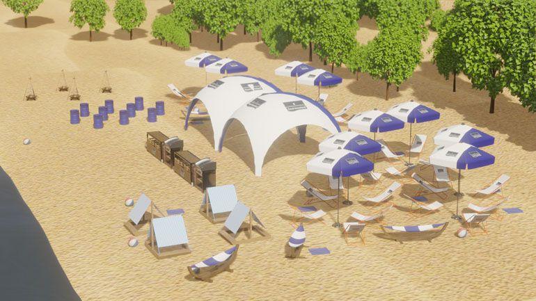 Impreza na plaży - wizualizacja 3d