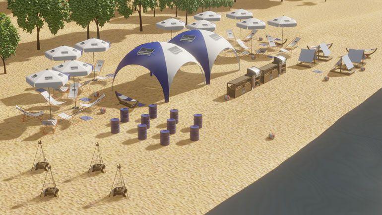 Strefa eventowa na plaży - wizualizacja 3d