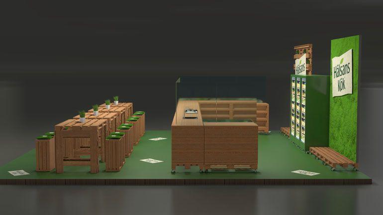 Wizualizacja stoiska z palet