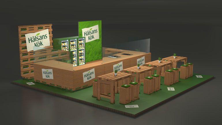 Wizualizacja 3D stoiska z palet