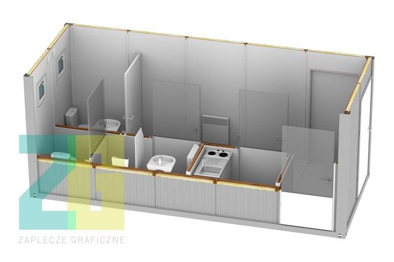 wnętrze 3d kontenera socjalnego