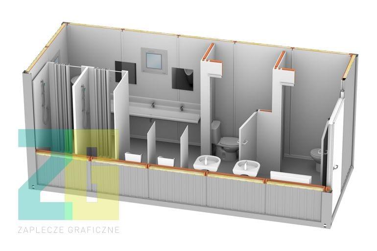 kontener mieszkalny - wnętrze 3d