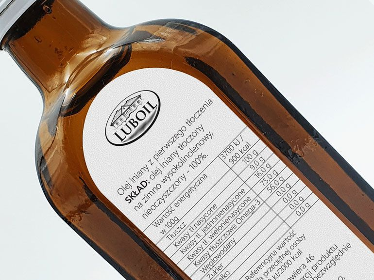 Projekt etykiety na butelki - olej lniany