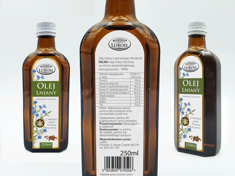 Etykieta na butelkę oleju lnianego