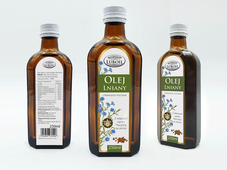 Etykiety na butelki - olej lniany