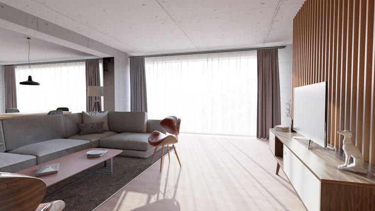 Wizualizacja salonu z elementami drewnianymi
