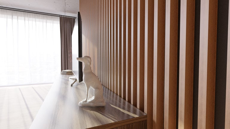 Wizualizacja salonu z elementami jasnego drewna