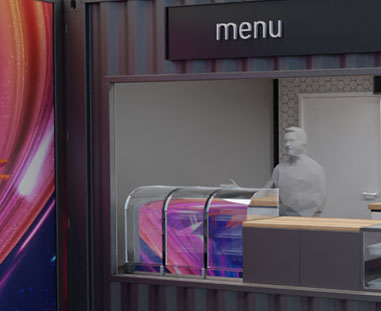 strefa gastronomiczna - wizualizacja 3D