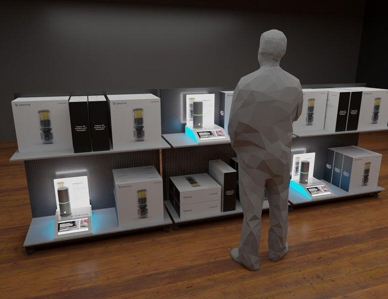 Projekt i wizualizacja ekspozytora podświetlanego dla oczyszczacza powietrza